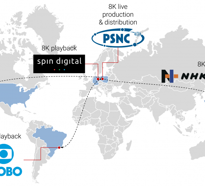 Demonstration presented on December 9th 2020 at multiple locations worldwide, organized by Intel (US), NHK Technologies (Japan), Poznan Networking and Supercomputing Center - PSNC (Poland), Spin Digital (Germany), Globo (Brazil), and with the support of Sony (Japan/UK), Astrodesign (Japan), and Zixi (US).